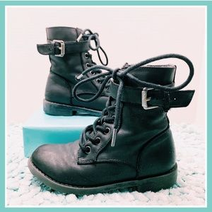 Girls Faux Leather Buckle Black Combat Boots